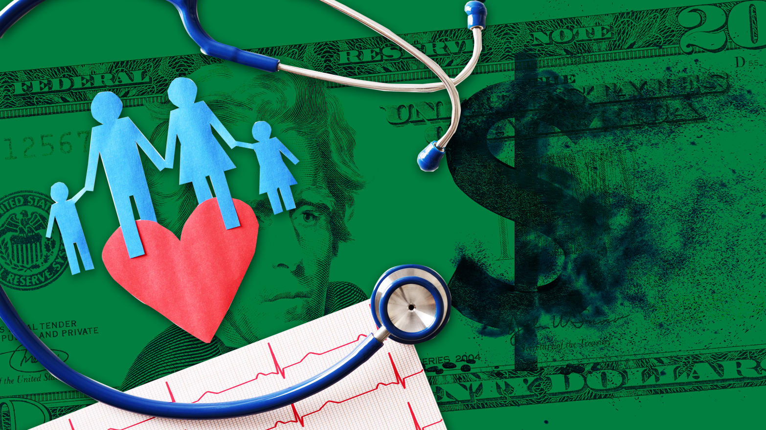 green dollar bill background with blue paper cutout family holding red heart and stethoscope and heart beats in foreground home visiting visit chicago primo center
