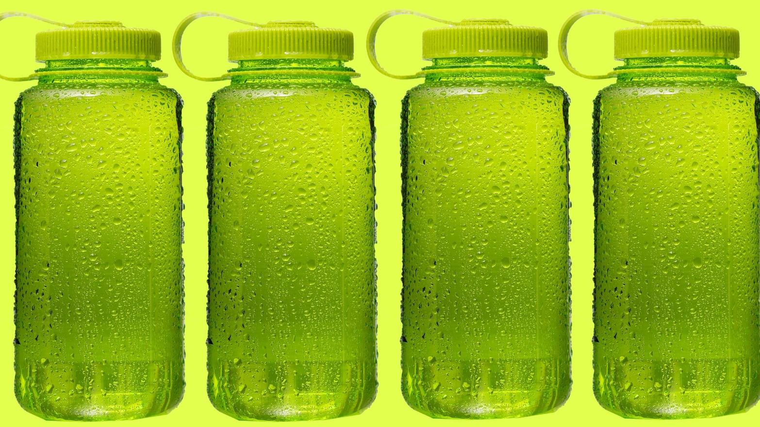 four green plastic bottles in a row on a lime background bpa water bottle fda safe
