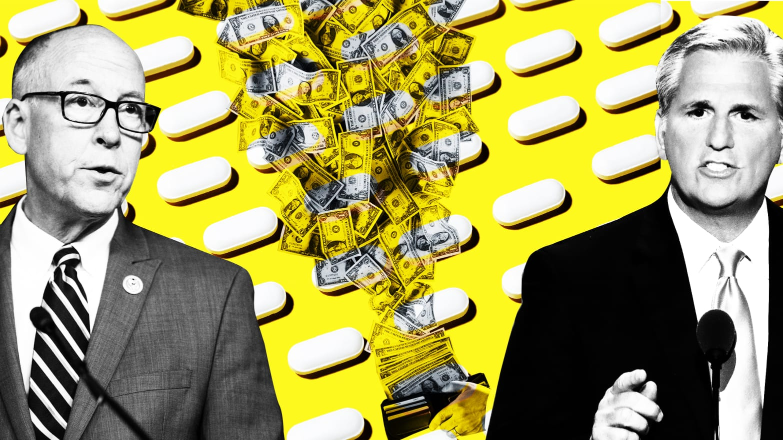 image of pills on yellow background with dollar bills flying out of wallet and Reps. Greg Walden of Oregon, a key Republican committee chairman, and Kevin McCarthy of California, the House Republican majority leader, on either side of pills
