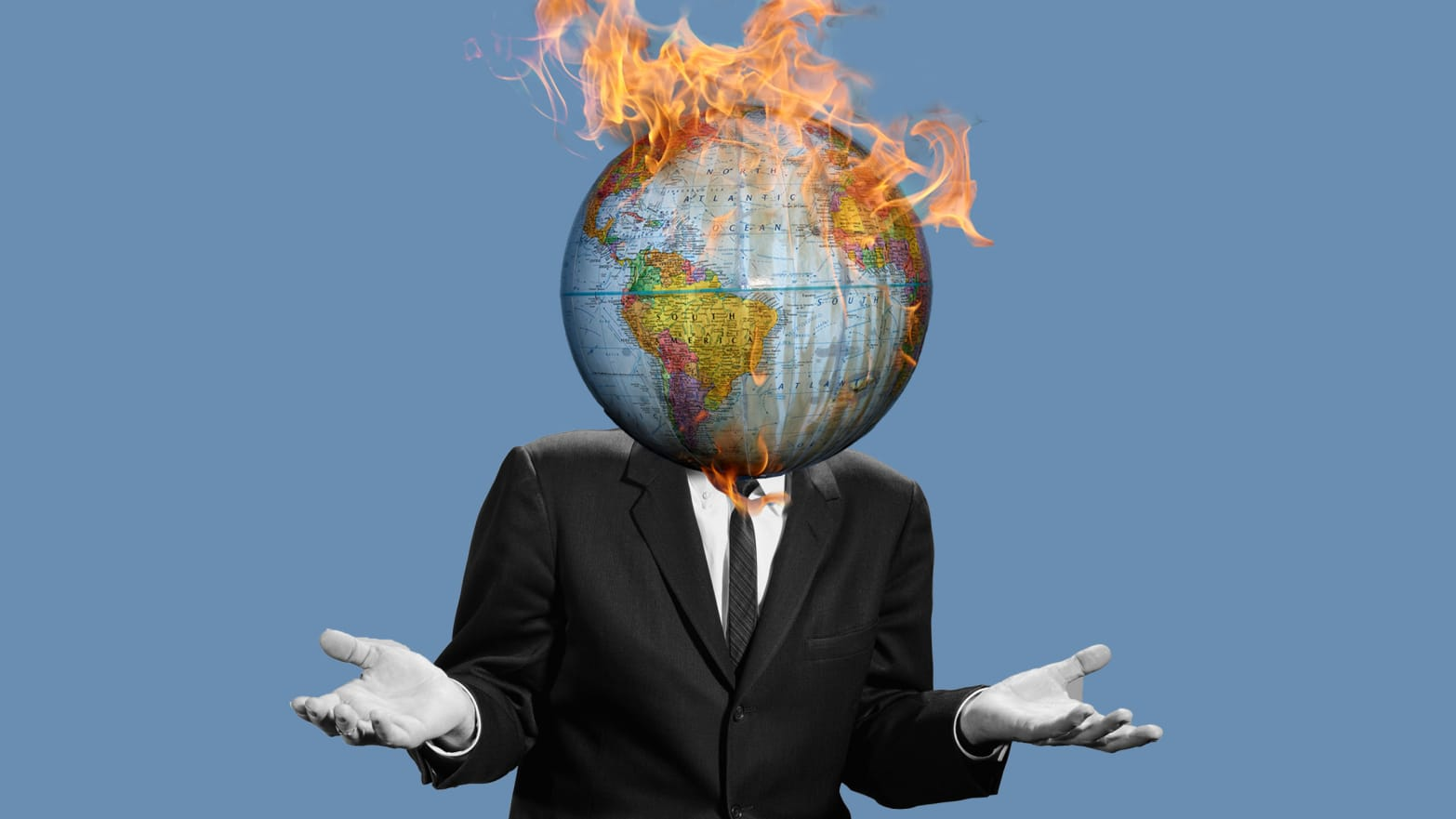 image of black and white man in a suit and tie with hands out in i don't know gesture and globe on fire instead of head epa environmental protection agency what report haven't heard of it ipcc united nations un
