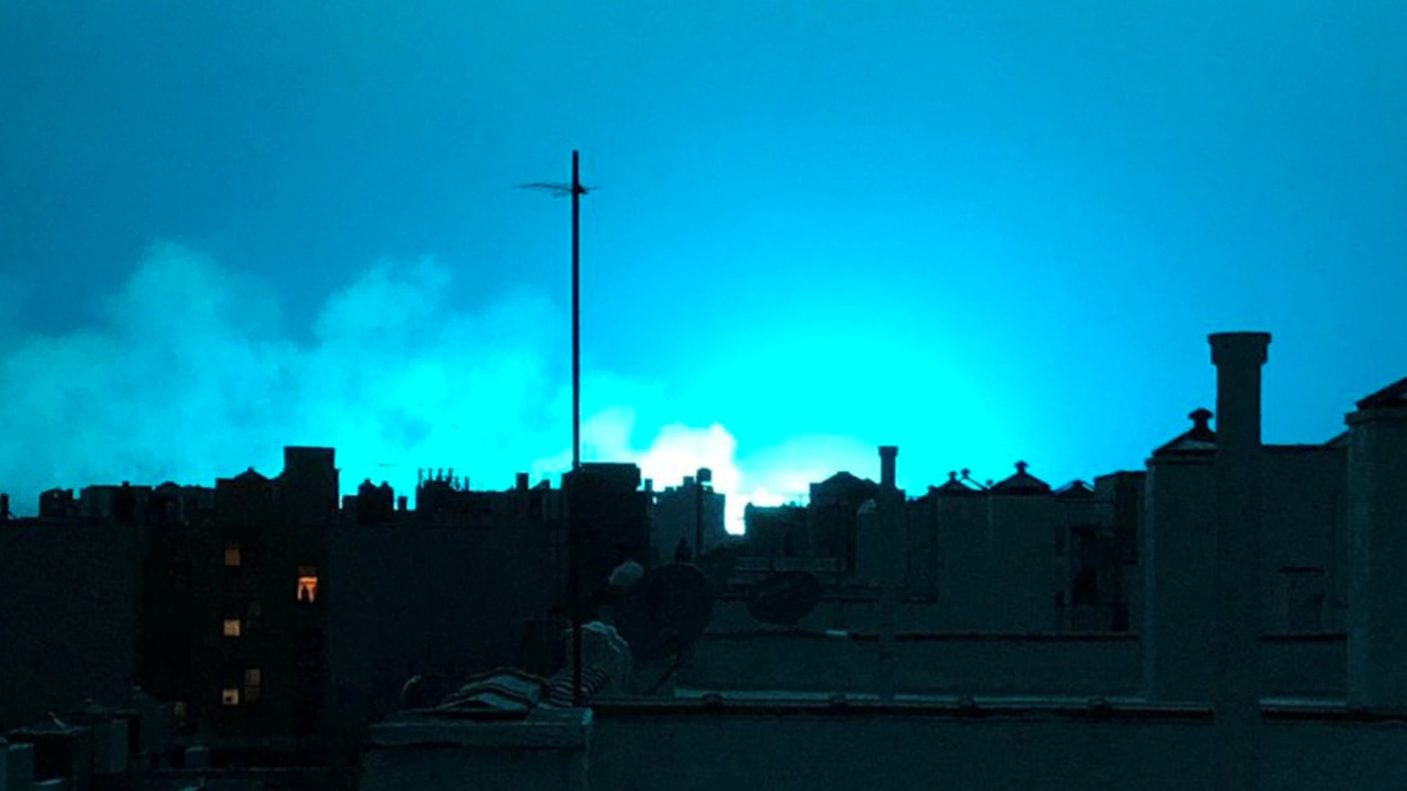 Power Plant Explosion Shakes Queens, Turns Sky Neon Blue