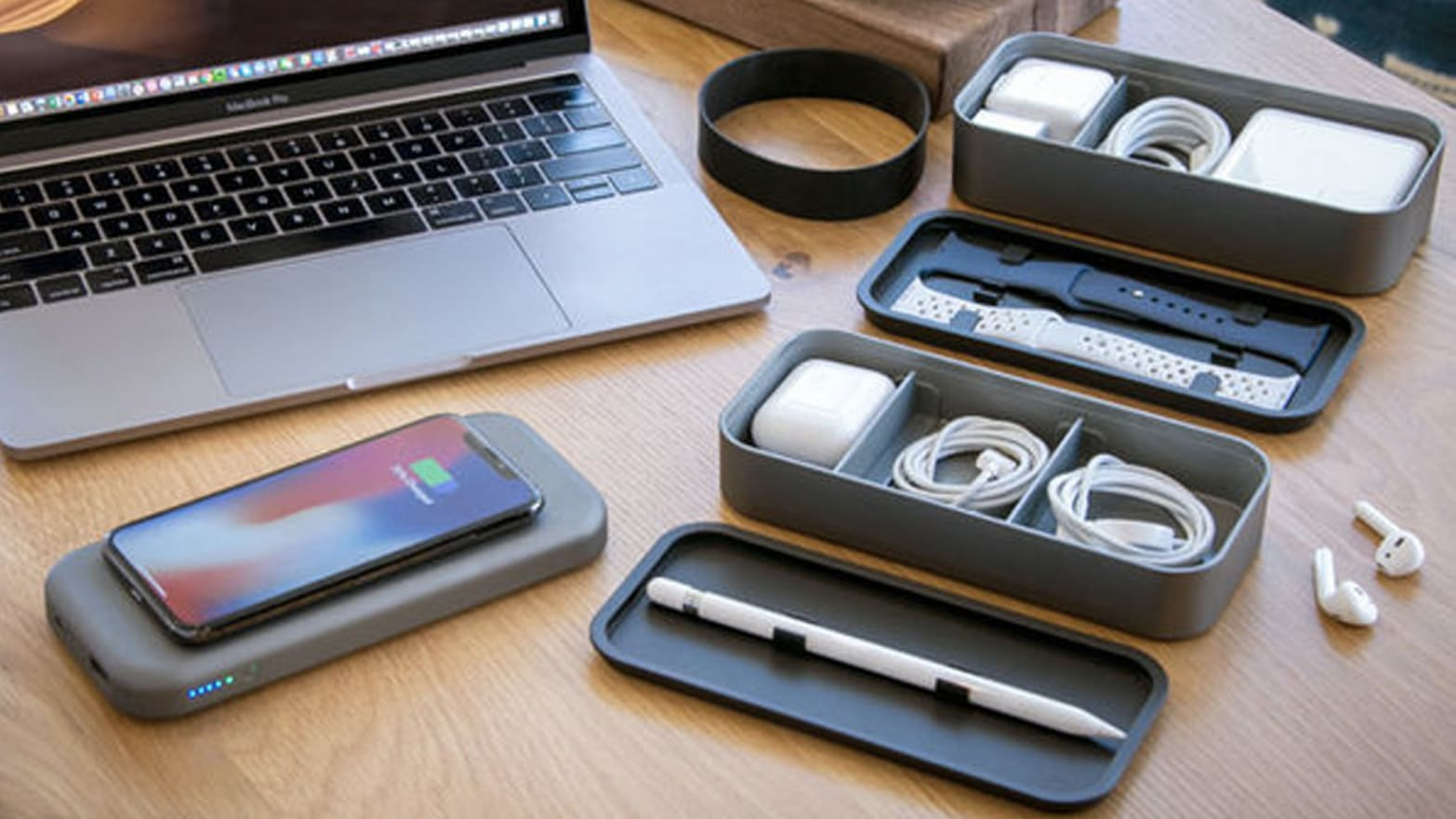Store Your Headphones and Cords, Plus Charge Your Phone, With The BentoStack Charge