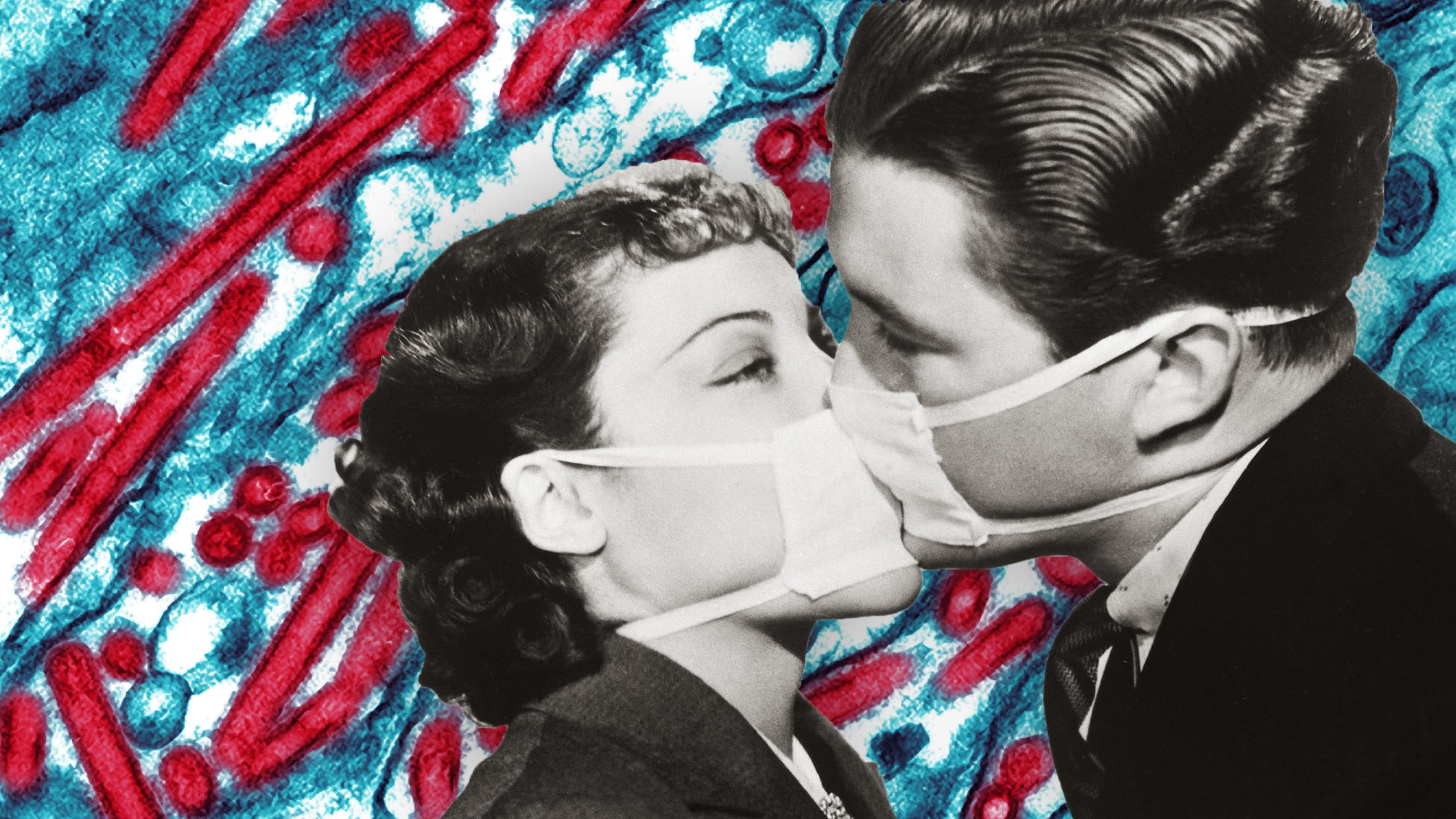 black and white retro image of a couple kissing through a face mask with influenza bacteria in red and blue enlarged behind them spanish pandemic 1918 are we ready no influenza vaccine shot swine epidemic antibiotic resistance