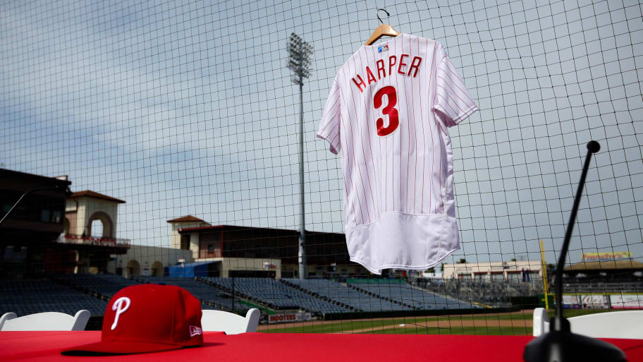on sale bba35 700fa Bryce Harper Breaks Record for Jersey Sales After Signing ...