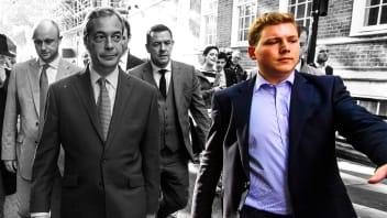 UKIP leader Nigel Farage, left, walking with former aide George Cottrell, right, in Westminster on the day the United Kingdom voted to leave the European Union in a referendum. Cottrell is facing up to 20 years in jail in the United States after admitting to fraud.