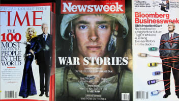 Newsweek magazine is displayed on a shelf at a news stand at South Station in Boston, Wednesday, May 5, 2010.