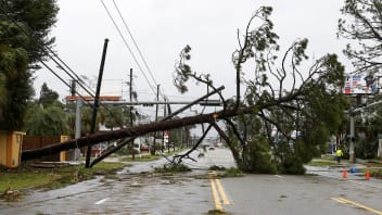 A downed tree and power lines block a road during Hurricane Michael in Panama City Beach, Florida, U.S. October 10, 2018. REUTERS/Jonathan Bachman - RC1C576B1DA0