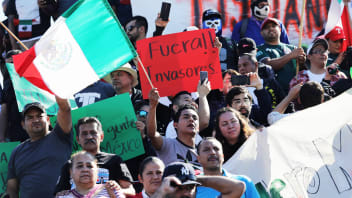 TIJUANA, MEXICO - NOVEMBER 18:  Anti-immigrant protesters shouts demonstrate before marching on an immigrant shelter on November 18, 2018 in Tijuana, Mexico. Several hundred Mexican demonstrators marched to the shelter near the U.S.-Mexico border, demanding that members of the migrant caravan, most from Honduras, leave the country. Immigrants have been arriving to the shelter after traveling thousands of miles from Central America.