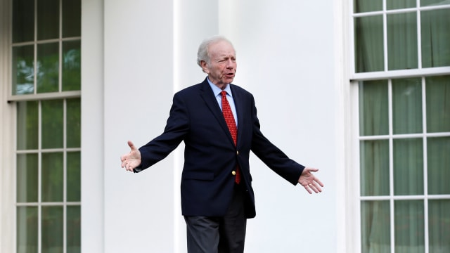 Former Senator Joe Lieberman after a meeting with President Donald Trump