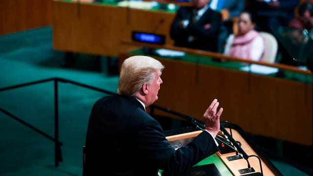 Donald Trump addresses the 72nd Annual UN General Assembly in New York