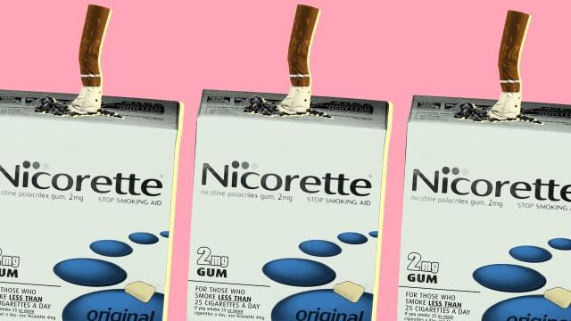 nicorette cigarette nicotine addiction tobacco safe healthy gum patch e cig cigarette ecigarette pastel millennial