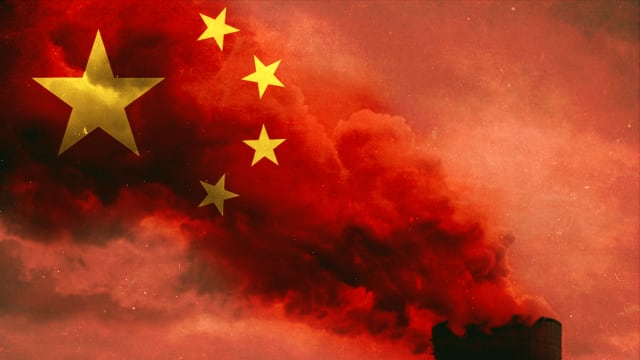 china flag superimposed over smoke paris climate change carbon emissions 2030