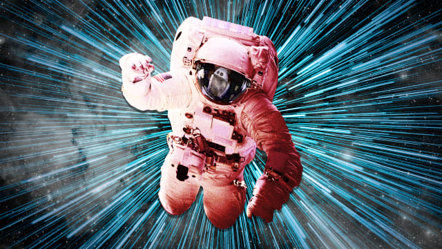 nasa astronaut floating in gravity with blue rays emanating from him deep space travel guts gut stomach cancer kamal datta