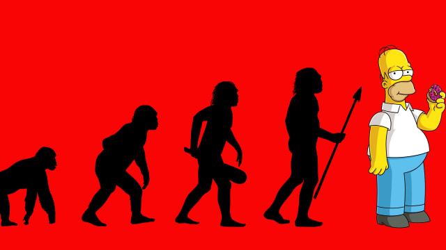 primate to human evolution image with homer simpson eating a donut at the end instead of human with red background vybarr cregan-reid cregan reid primate change anthropocene era sedentary lifestyle killing us