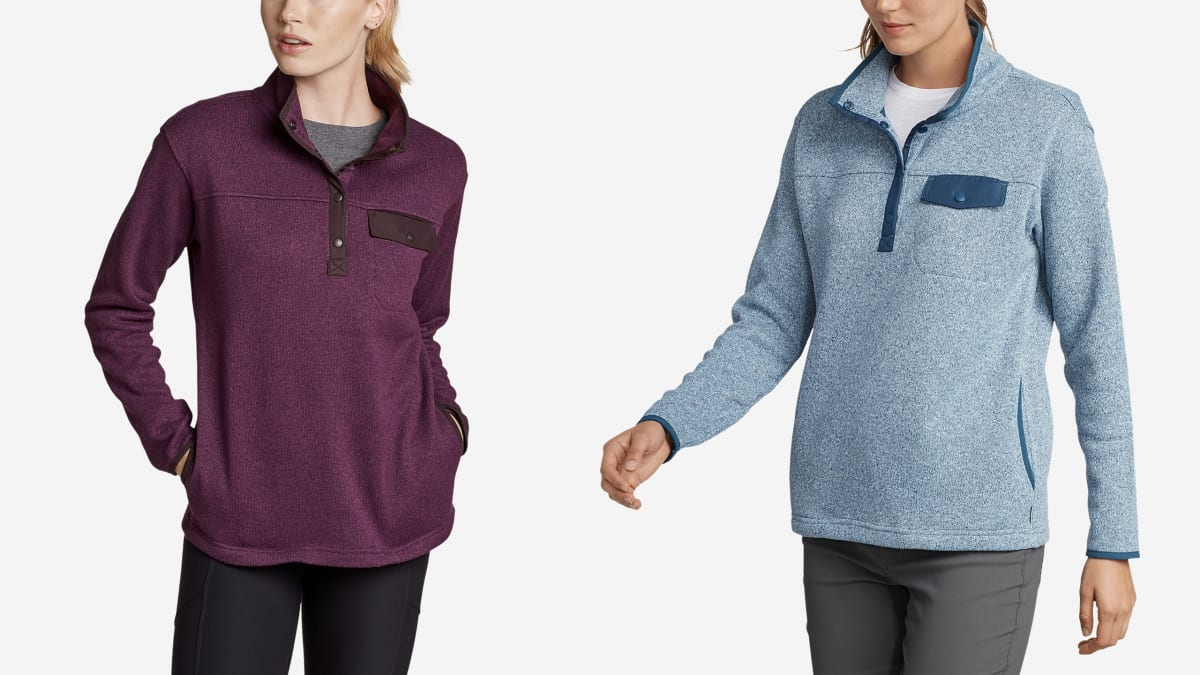 This Incredibly Soft Eddie Bauer Sweater Competes With Burberry and J. Crew