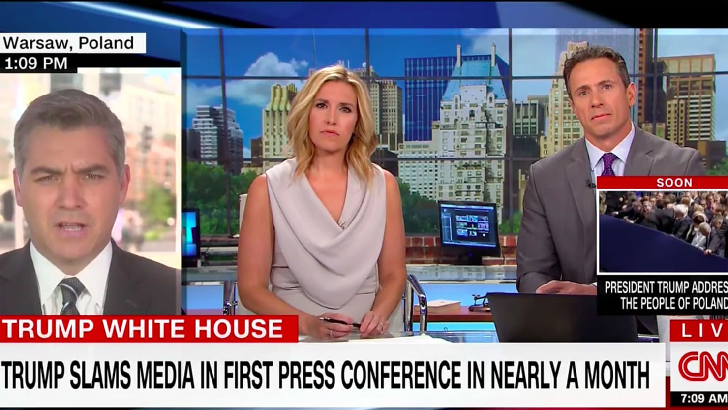 CNN World News Picture: CNN Fires Back At Trump's 'Fake News Conference' In Poland