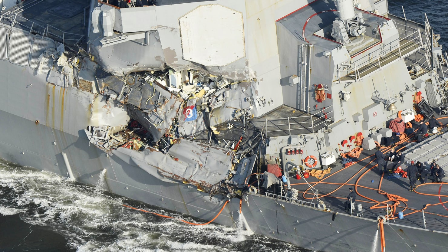 Photo taken in June 2017 shows the U.S. Navy destroyer Fitzgerald after a fatal collision with a Filipino container ship off the Japan coast.