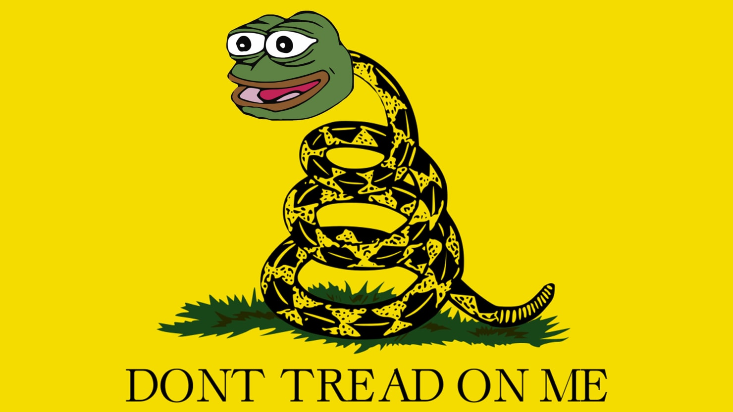 "Pepe as Snake, ""Don't Tread on Me"" Flag"
