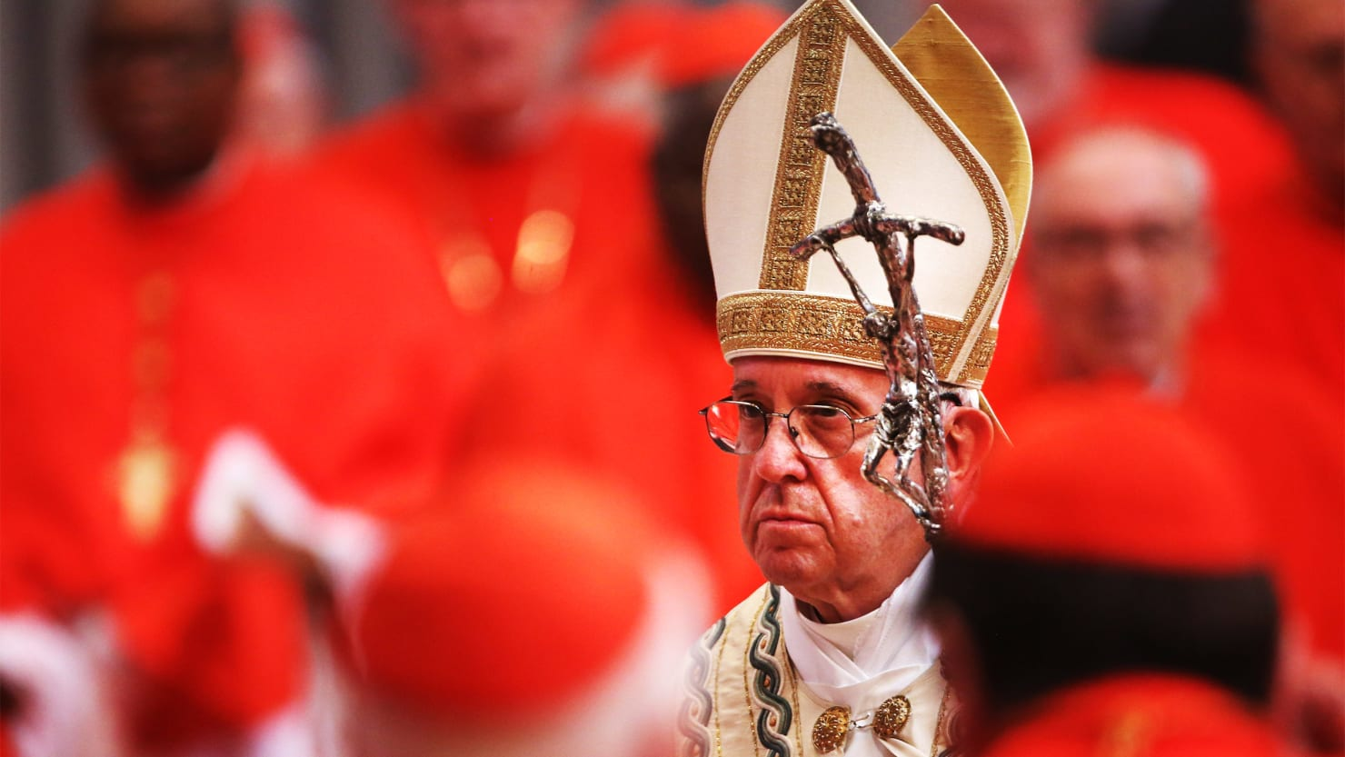 Pope Francis surrounded by cardinals leads a consistory at St. Peter's Basilica in Vatican City