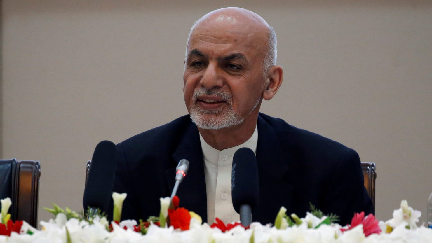 Afghan President Ashraf Ghani speaks during during a peace and security cooperation conference in Kabul, Afghanistan on February 28, 2018.