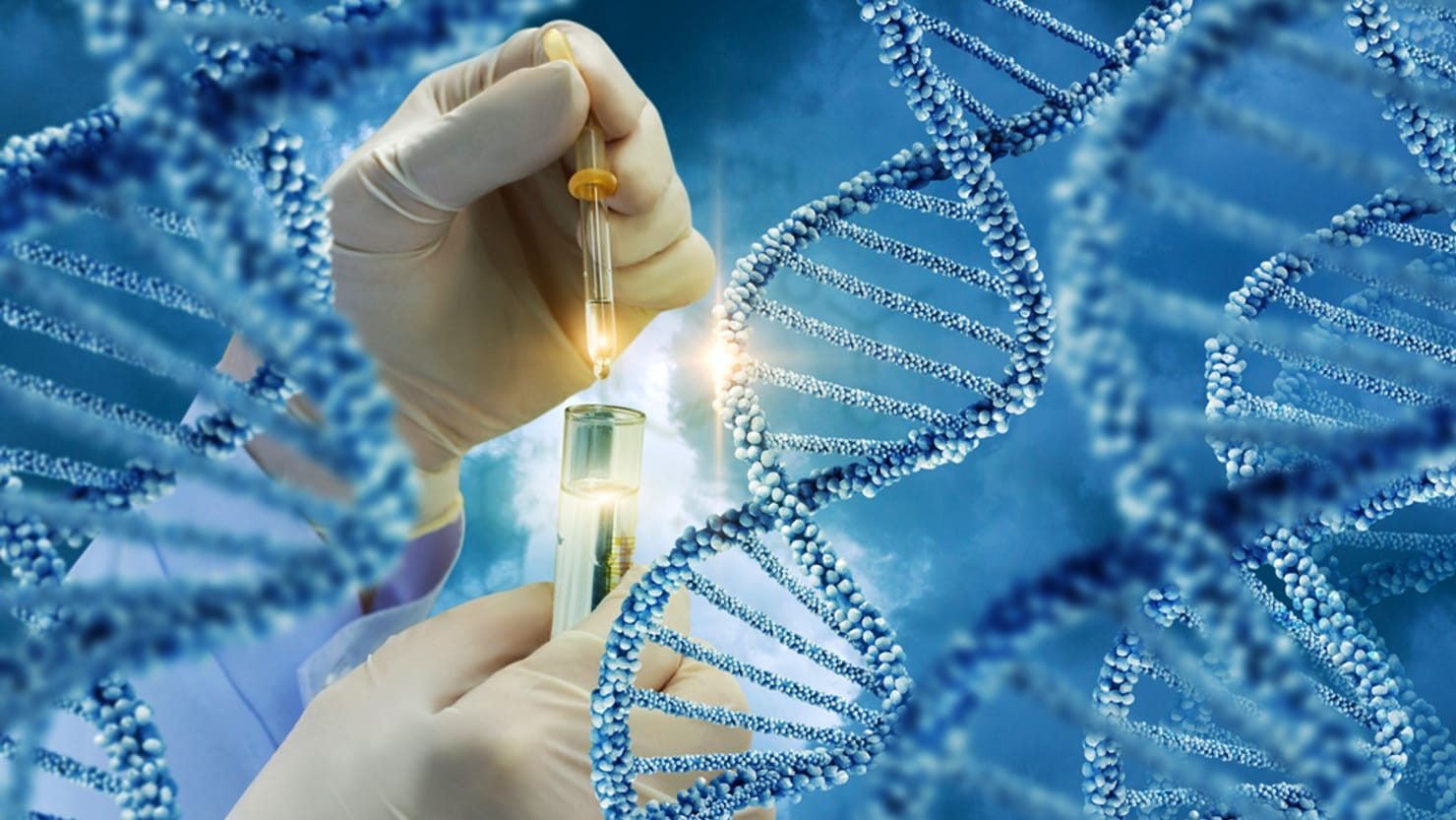 gloved scientist hand surrounded by blue dna clusters