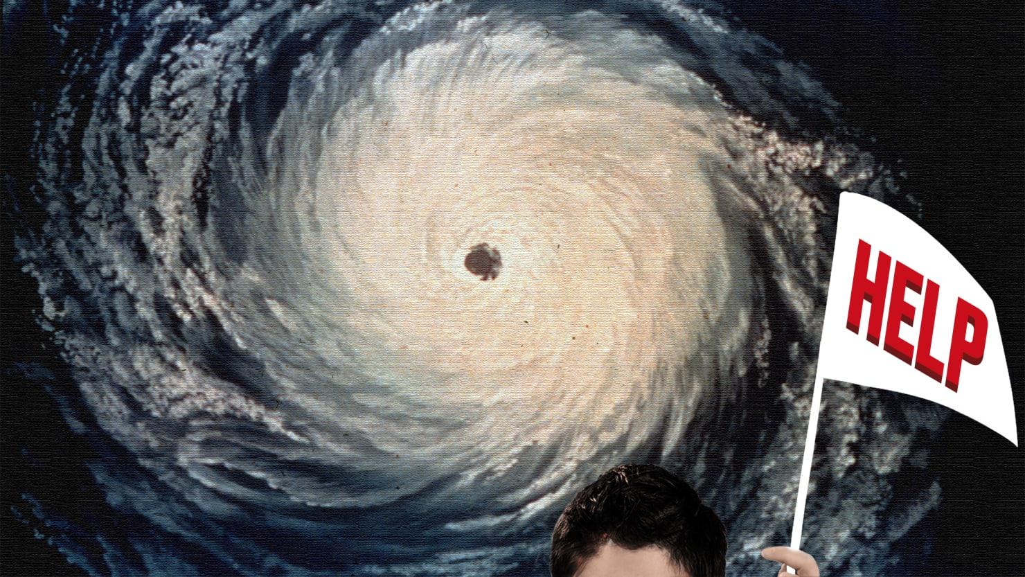 hurricane map maria katrina irma with man holding help sign tropical storm saffir simpson category 1 2 3 4 5