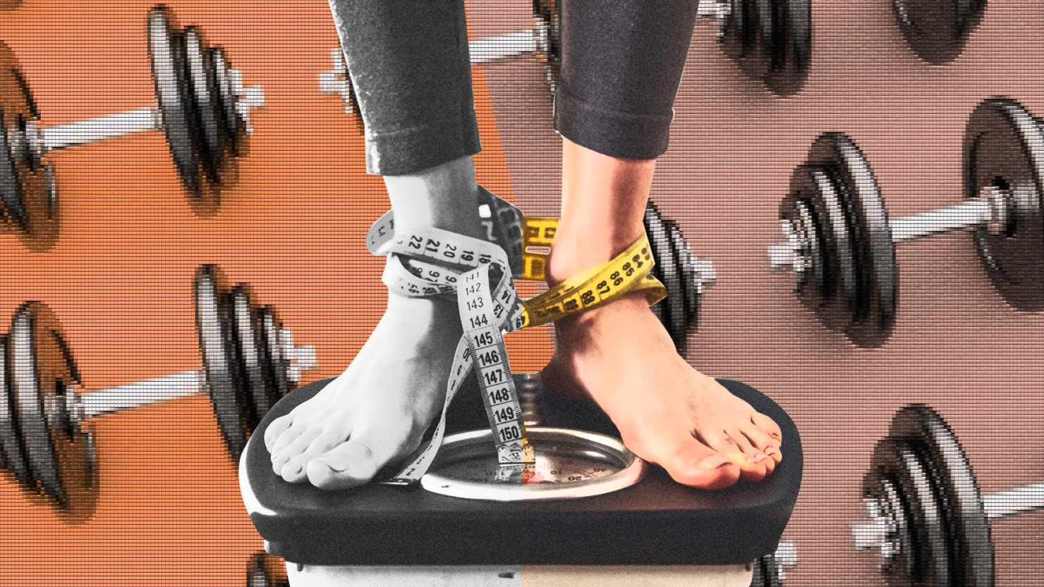woman standing on weight machine with measuring tape wrapped around her ankles and weights in background gym body mass index bmi controversy dysmorphia