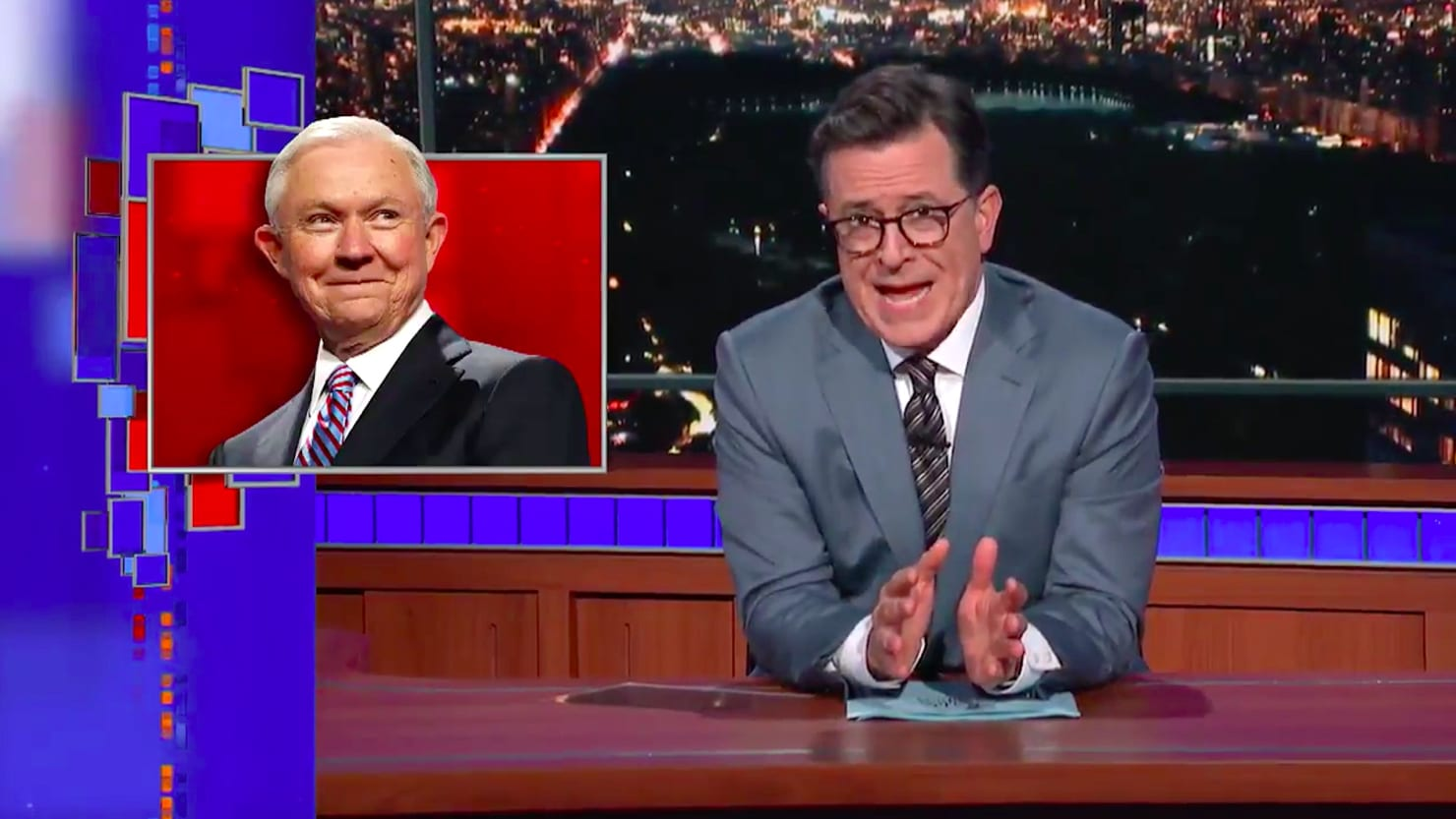 Image result for free to use image of stephen colbert and jeff sessions