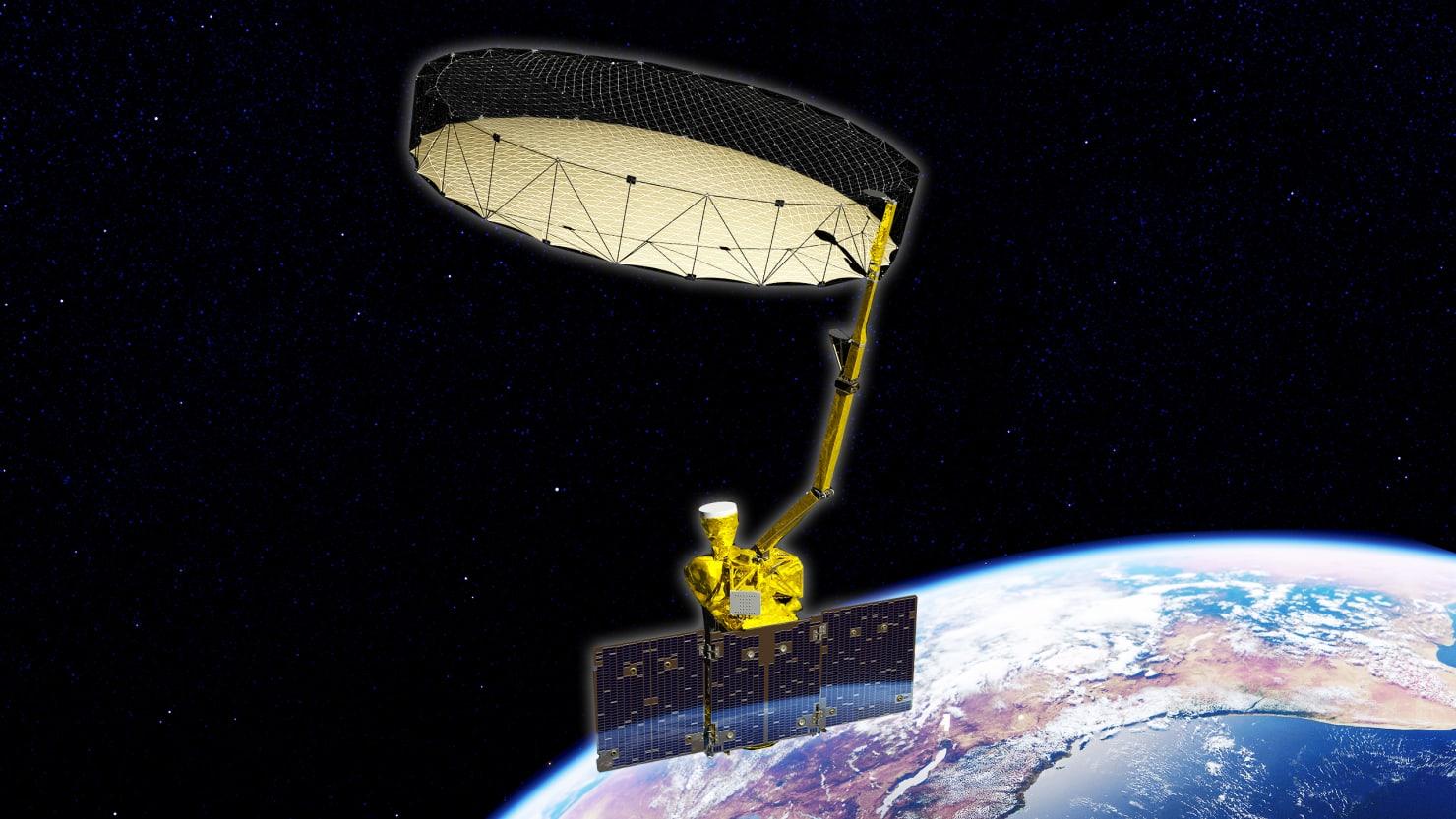 illustration of satellite over earth smap Soil Moisture Active Passive usda NASA agriculture