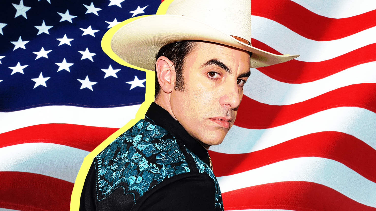 "Alt=""Sacha Baron Cohen and the American flag."""