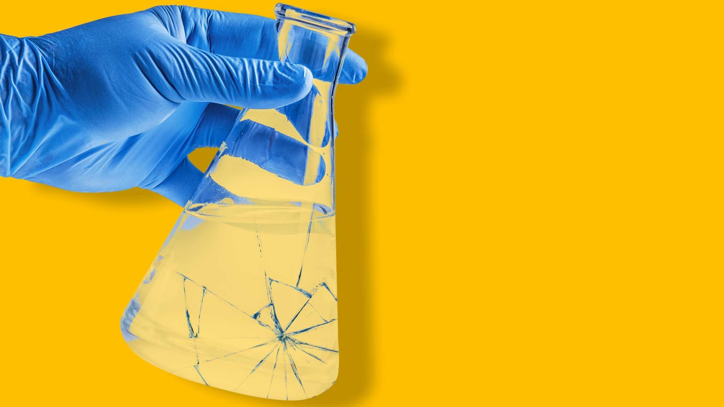blue gloved hand holding beaker on yellow background president donald trump barack obama office of science and technology ostp