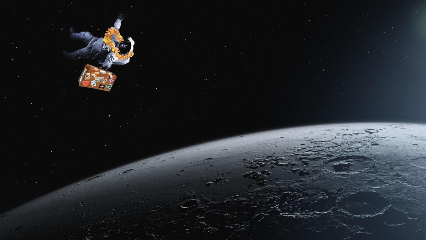 an astronaut goes toward the moon lunar tourism spacex space x Yusaku Maezawa elon musk big fucking rocket spacecraft
