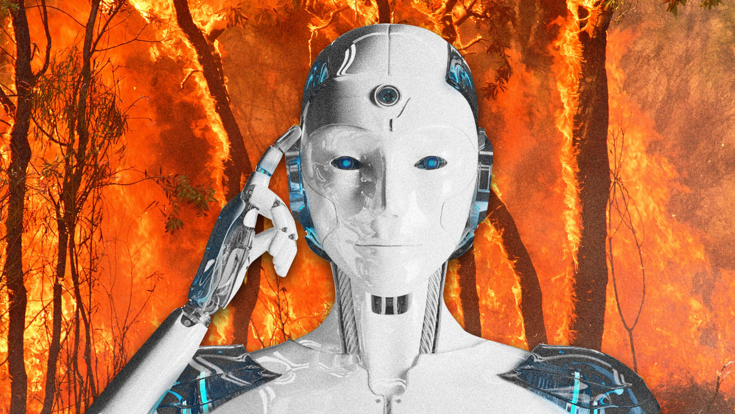 image of white robot with blue eyes with index finger pointed to head and background of california wildfires forest in full blaze