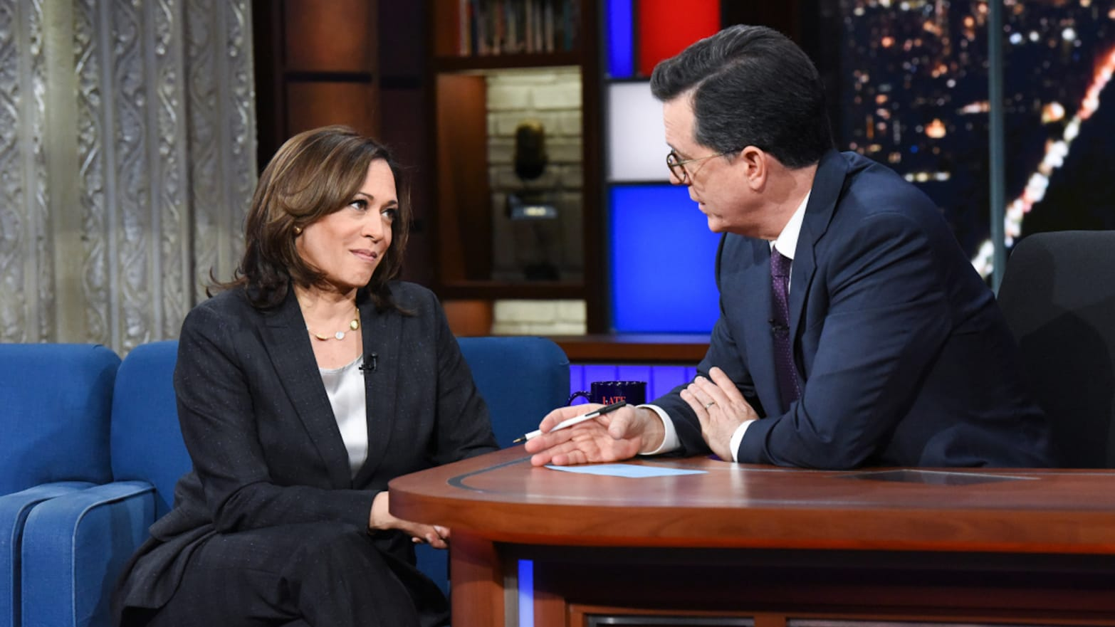 Kamala Harris Tears Into Trump for Holding America 'Hostage' With Demand to End Investigations on 'Colbert'