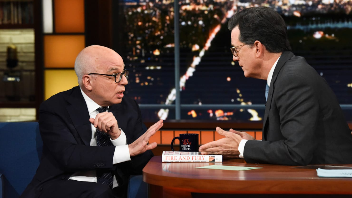 Stephen Colbert Grills Michael Wolff Over 'Fire and Fury': Why Not Release the Tapes?