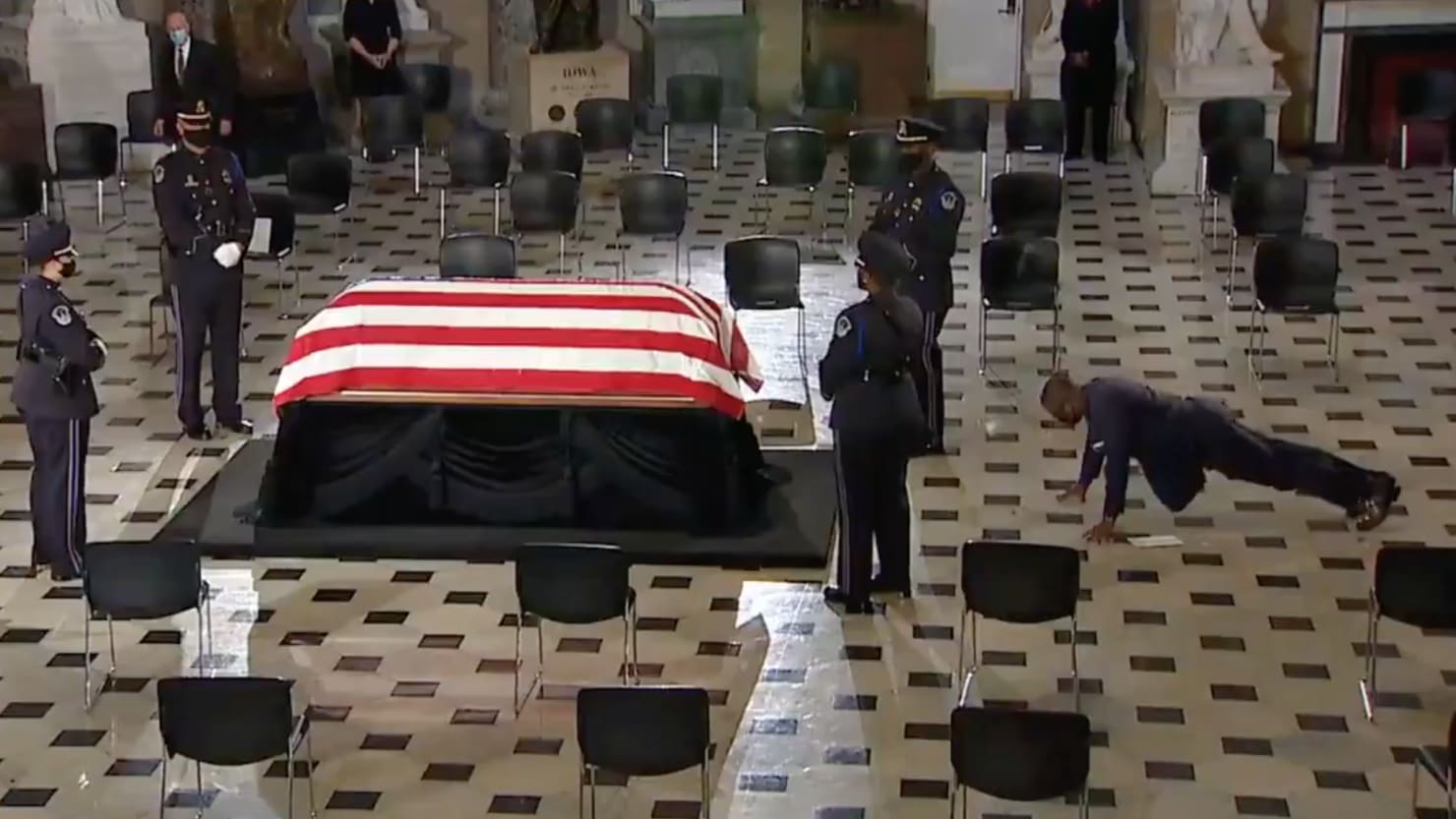 RBG's Trainer Does Pushups in Front of Her Casket at U.S. Capitol Memorial Service