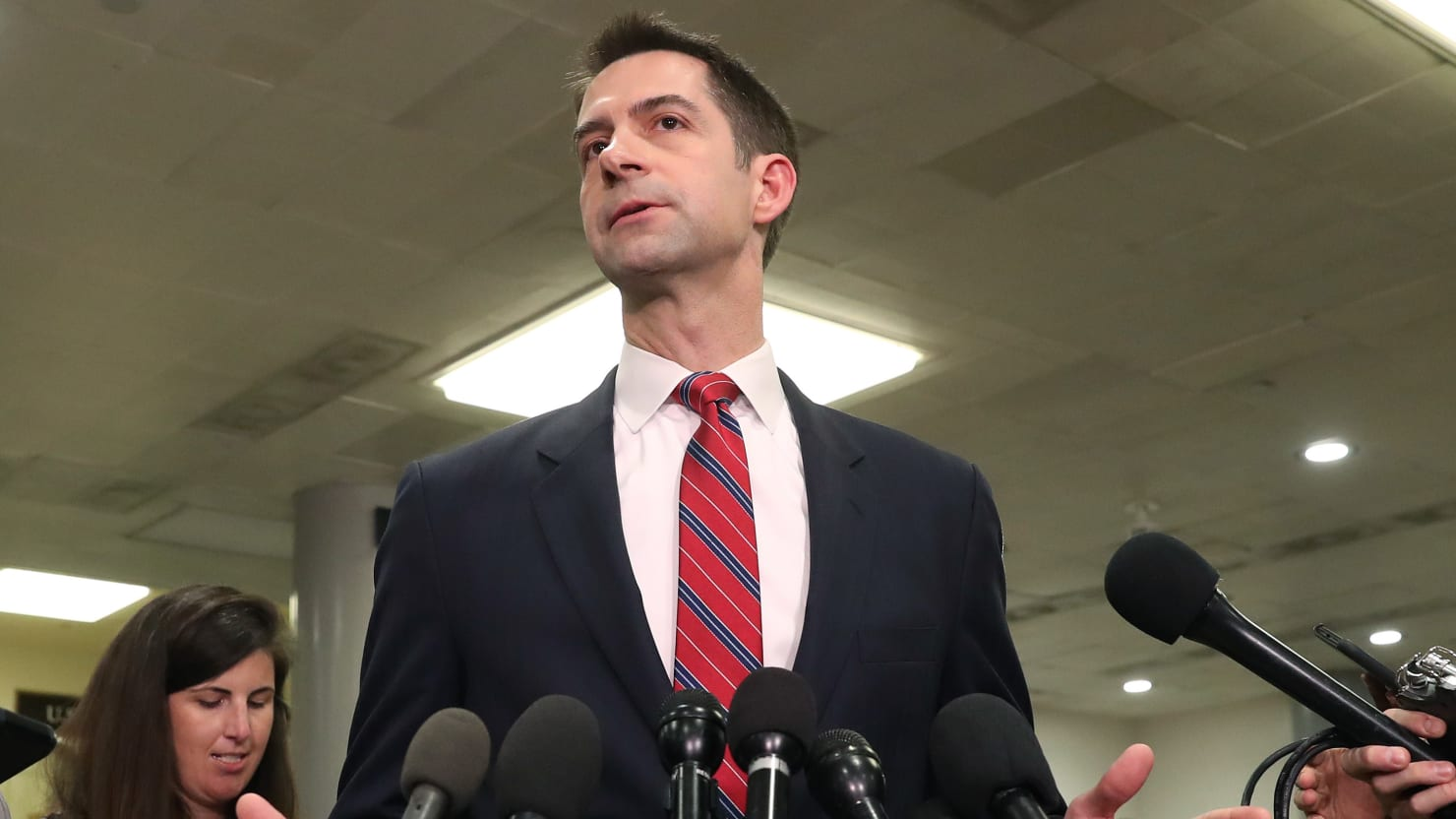 Sen. Tom Cotton Flogs Coronavirus Conspiracy Theory Dismissed by Actual Scientists