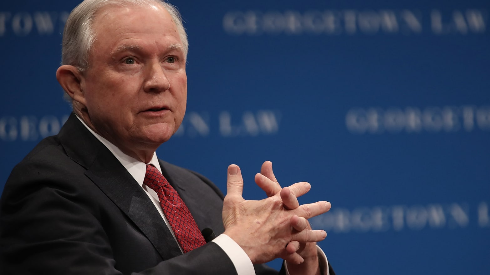 getown University Law Center September 26, 2017 in Washington, DC. Sessions spoke on the topic of free speech on college campuses and took several questions following his remarks.
