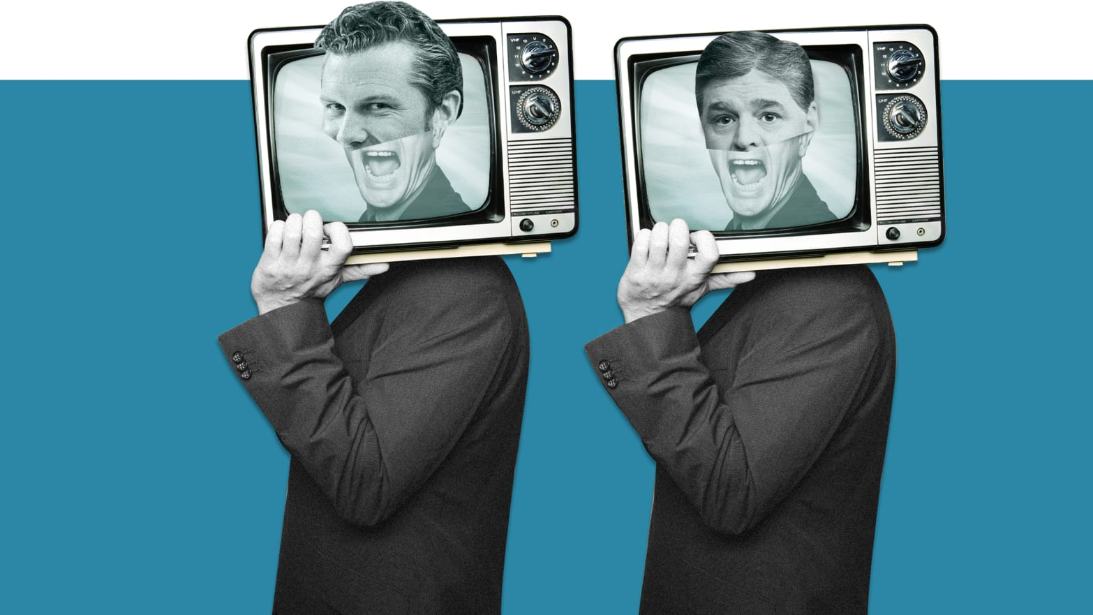image of sean hannity and pete hegseth in black and white on tv in 50s style dancing with teal background Sean Hannity Laura Ingraham Fox & Friends Pete Hegseth Ainsley Earhardt