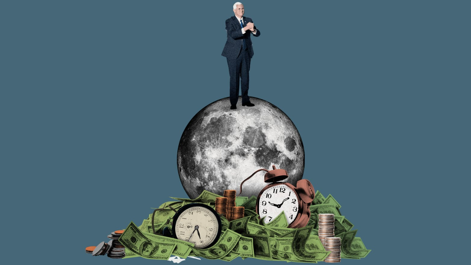 illustration of mike pence standing on a moon with clock and cash at its base china change chang e lunar mission nasa space force