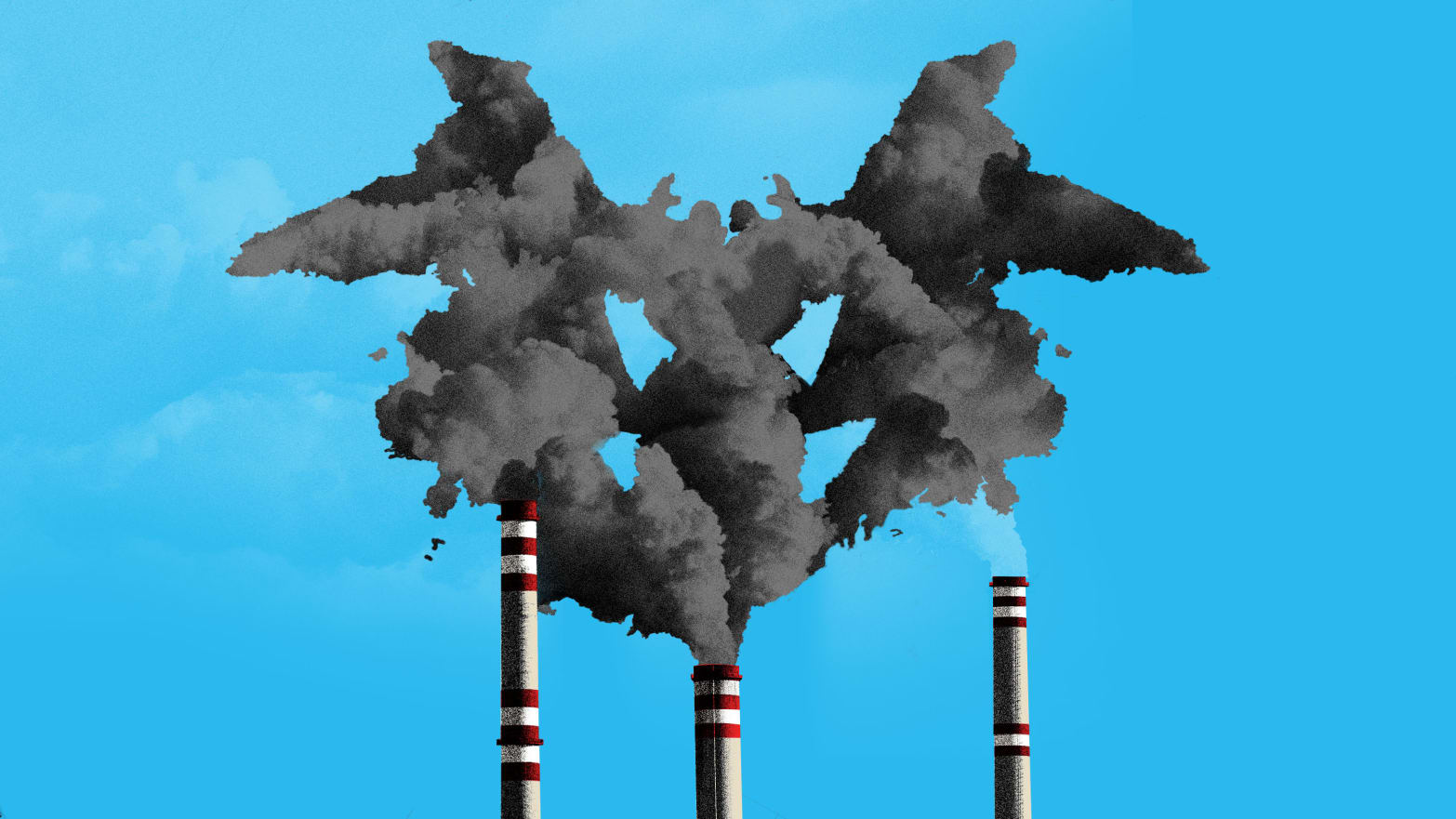 illustration of factory towers spewing out gray polluted smoke in the form of rorsach test mental health ptsd post traumatic stress disorder depression anxiety dead puerto rico