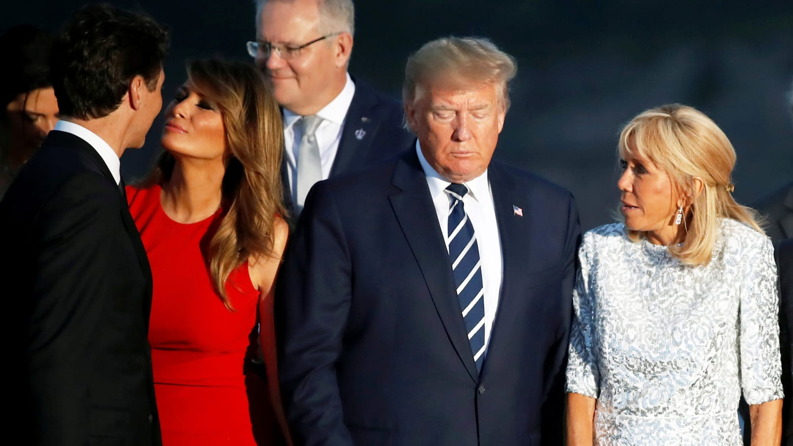 Melania Gazed at Justin Trudeau in the Perfect Red Dress. The Rest of Her G7 Fashion Was Pure One Percent.