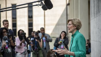 Democratic presidential candidate Sen. Elizabeth Warren (D-MA) speaks to members of the media after the She The People Presidential Forum at Texas Southern University on April 24, 2019 in Houston, Texas. Many of the Democrat presidential candidates are attending the forum to focus on issues important to women of color
