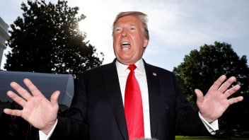 """U.S. President Donald Trump  speaks to the news media as he departs for travel to Colorado from the White House in Washington, U.S., May 30, 2019."""