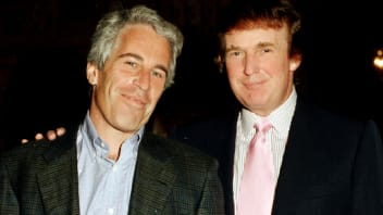 """Portrait of American financier Jeffrey Epstein (left) and real estate developer Donald Trump as they pose together at the Mar-a-Lago estate, Palm Beach, Florida, 1997"""