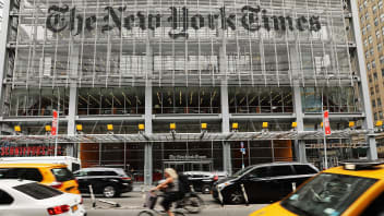 """NEW YORK, NY - JULY 27:  The New York Times building stands in Manhattan on July 27, 2017 in New York City.  The New York Times Company shares have surged to a nine-year high after posting strong earnings on Thursday. Partly due to new digital subscriptions following the election of Donald Trump as president, the company reported a profit of $27.7 million in the second quarter, up from $9.1 million in the same period last year.  (Photo by Spencer Platt/Getty Images)"""