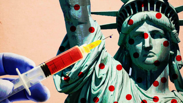 image of a blue gloved hand holding a shot vaccine carrying mmr on left and statue of liberty with red polka dots with pale millennial pink background