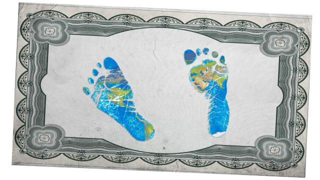illustration of birth certificate border with baby feet footprint footprints within in blue and green earth colors climate change global warming fertility baby babies how many more colombia switzerland demography