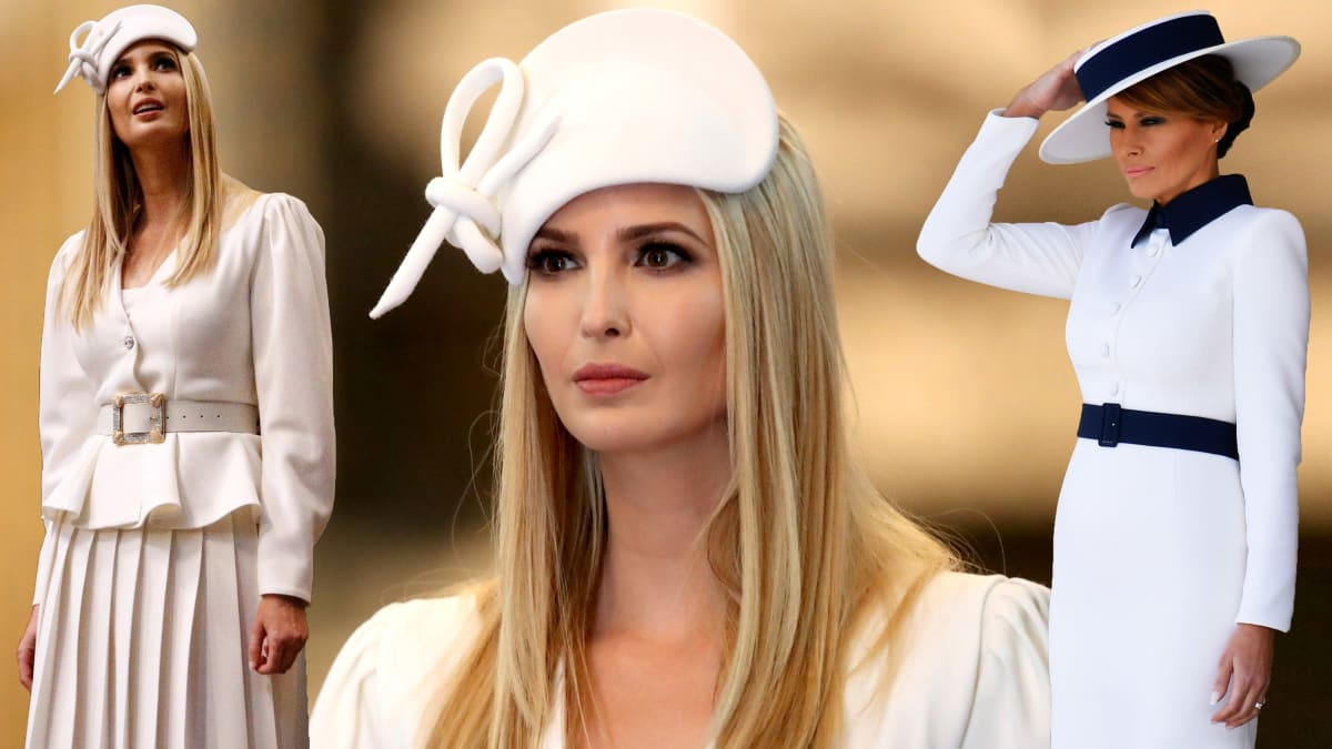 Melania and Ivanka Trump's Bonkers State Visit Fashion Is Pure 'Dynasty,' With Boater Hats, Rhinestone Belts