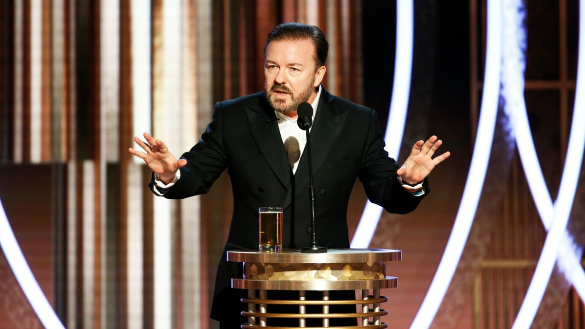 Ricky Gervais' Golden Globes Monologue Mocks Hollywood's Jeffrey Epstein Ties